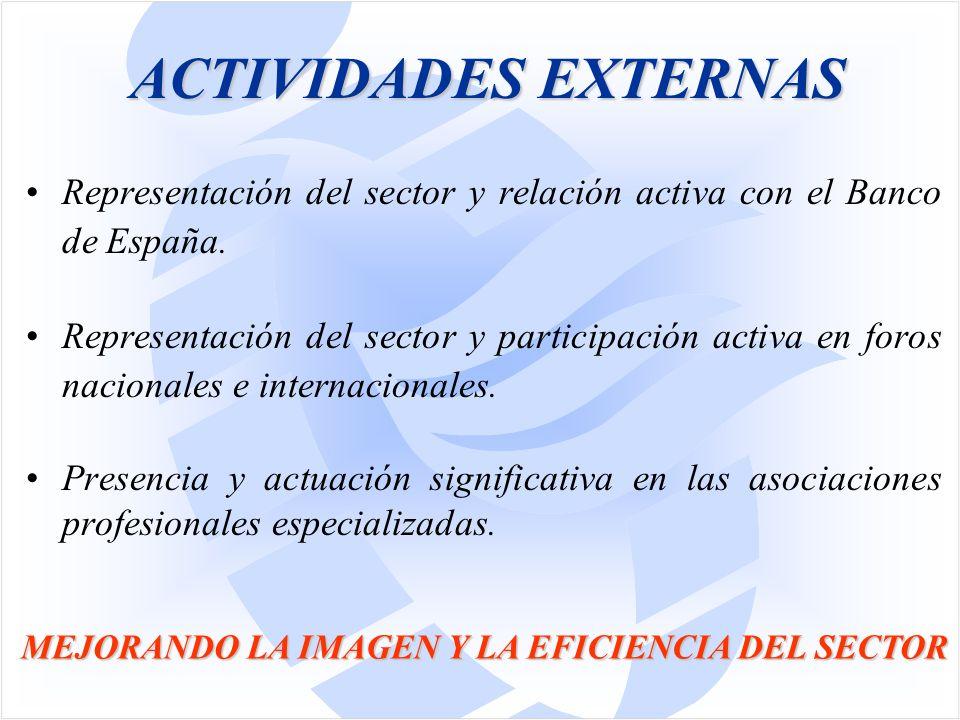Representación del sector y relación activa con el Banco de España.