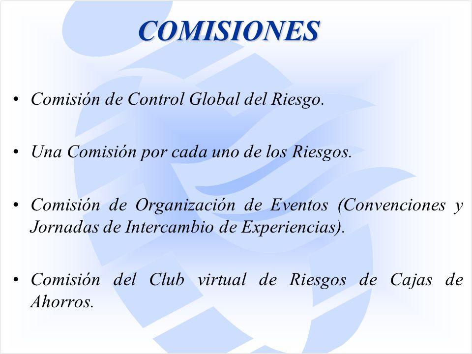 COMISIONES Comisión de Control Global del Riesgo. Una Comisión por cada uno de los Riesgos.