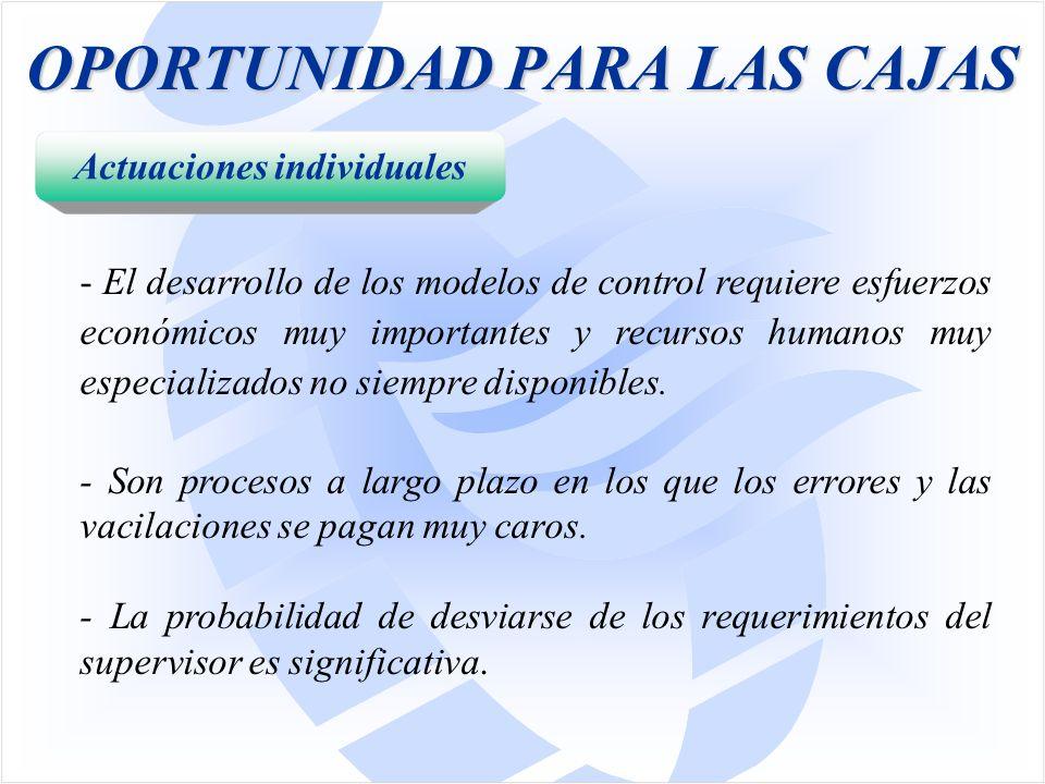 OPORTUNIDAD PARA LAS CAJAS - El desarrollo de los modelos de control requiere esfuerzos económicos muy importantes y recursos humanos muy especializados no siempre disponibles.