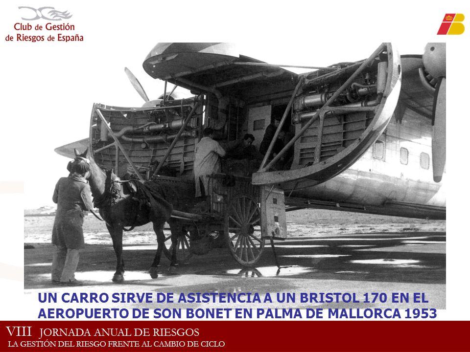 UN CARRO SIRVE DE ASISTENCIA A UN BRISTOL 170 EN EL AEROPUERTO DE SON BONET EN PALMA DE MALLORCA 1953