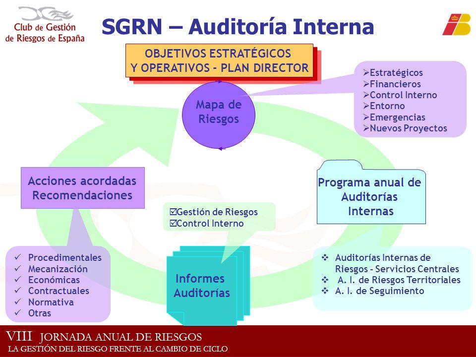 OBJETIVOS ESTRATÉGICOS Y OPERATIVOS - PLAN DIRECTOR SGRN – Auditoría Interna Estratégicos Financieros Control Interno Entorno Emergencias Nuevos Proye