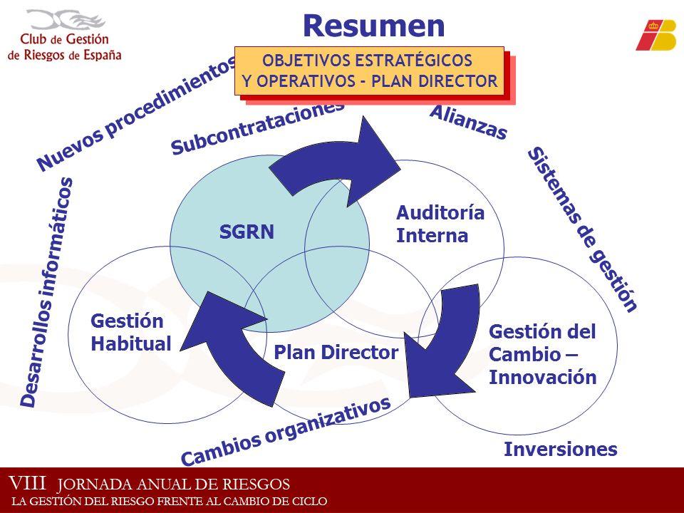 Resumen Plan Director Cambios organizativos SGRN Auditoría Interna Gestión del Cambio – Innovación Gestión Habitual Nuevos procedimientos Alianzas Des