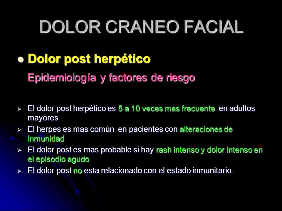 DOLOR CRANEO FACIAL Dolor post herpético Dolor post herpético Epidemiología y factores de riesgo Epidemiología y factores de riesgo El dolor post herp