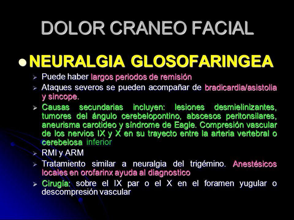 DOLOR CRANEO FACIAL NEURALGIA GLOSOFARINGEA NEURALGIA GLOSOFARINGEA Puede haber largos periodos de remisión Puede haber largos periodos de remisión At