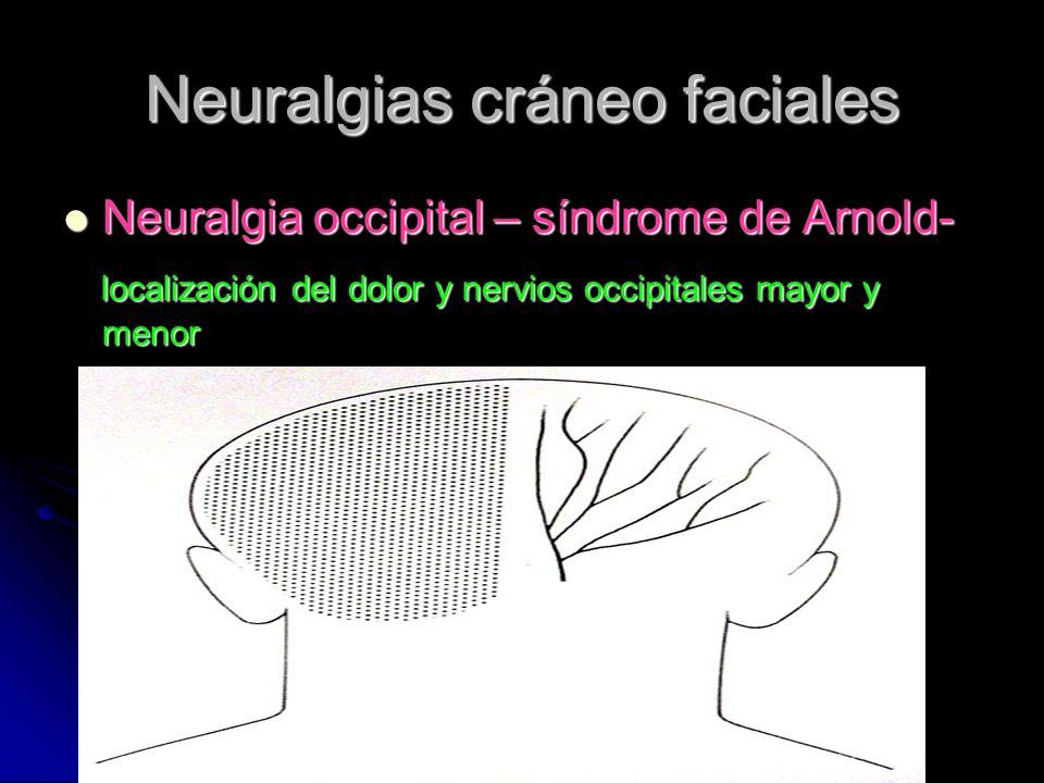 Neuralgias cráneo faciales Neuralgia occipital – síndrome de Arnold- Neuralgia occipital – síndrome de Arnold- localización del dolor y nervios occipi