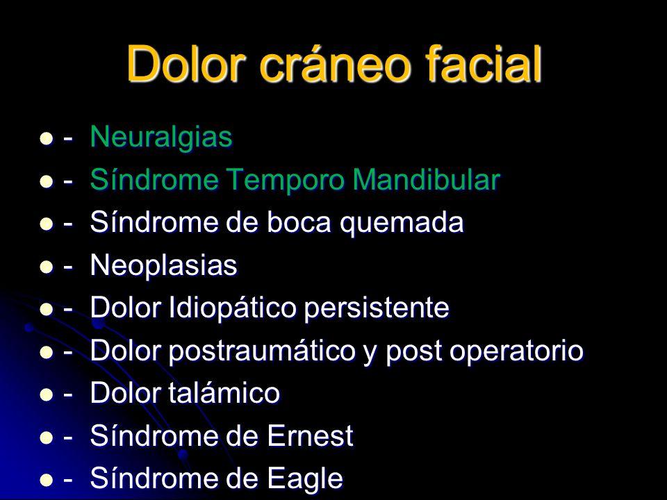 Dolor cráneo facial - Neuralgias - Neuralgias - Síndrome Temporo Mandibular - Síndrome Temporo Mandibular - Síndrome de boca quemada - Síndrome de boc