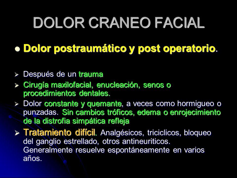 DOLOR CRANEO FACIAL Dolor postraumático y post operatorio. Dolor postraumático y post operatorio. Después de un trauma Después de un trauma Cirugía ma