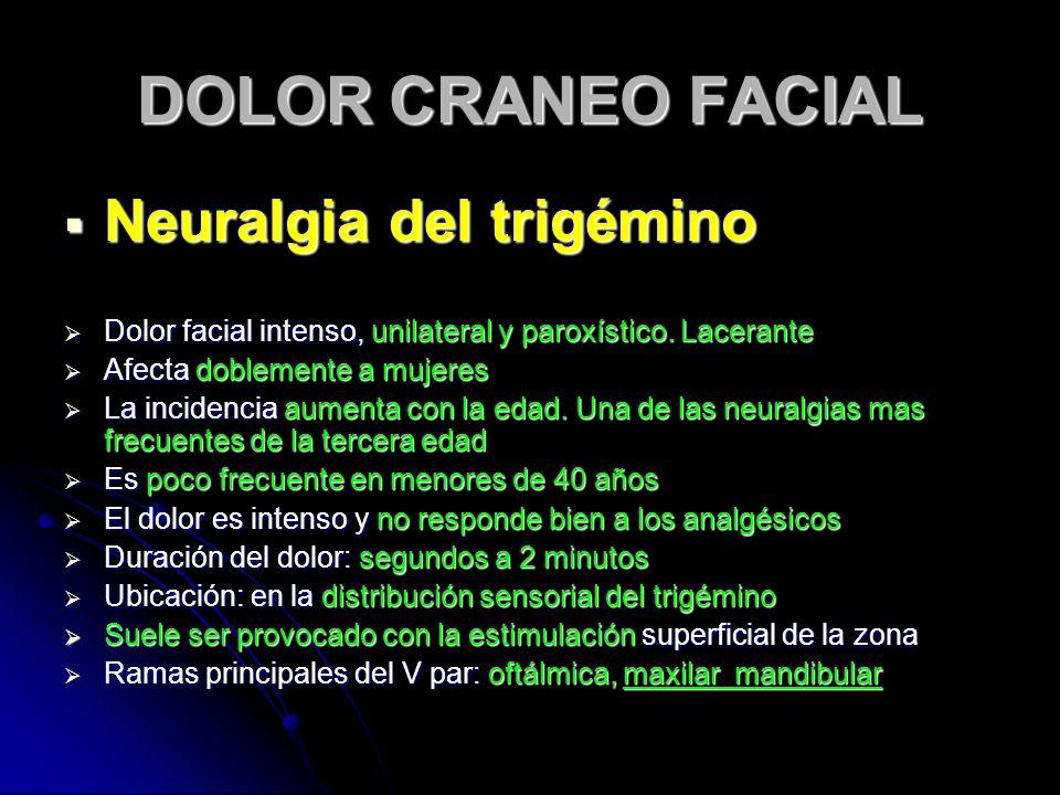DOLOR CRANEO FACIAL Neuralgia del trigémino Neuralgia del trigémino Dolor facial intenso, unilateral y paroxístico. Lacerante Dolor facial intenso, un