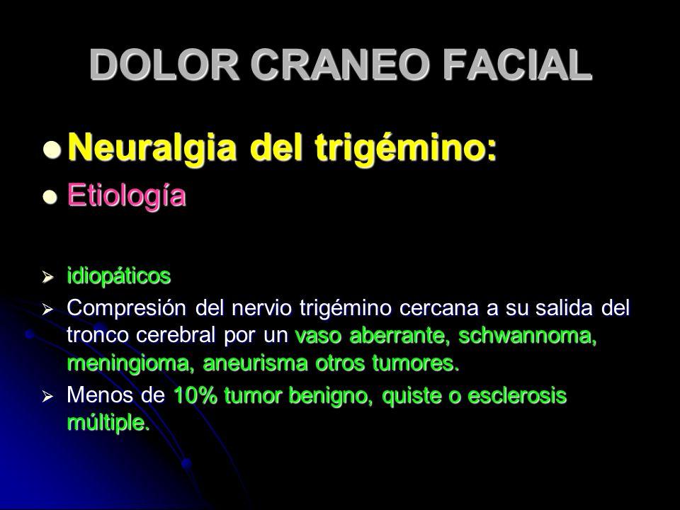 DOLOR CRANEO FACIAL Neuralgia del trigémino: Neuralgia del trigémino: Etiología Etiología idiopáticos idiopáticos Compresión del nervio trigémino cerc