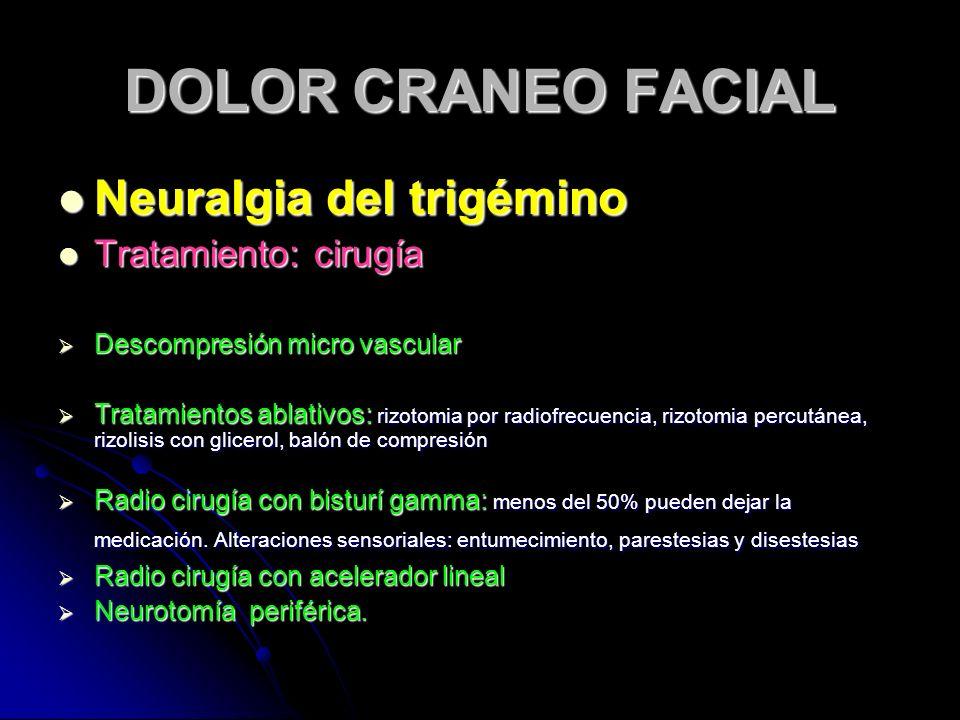 DOLOR CRANEO FACIAL Neuralgia del trigémino Neuralgia del trigémino Tratamiento: cirugía Tratamiento: cirugía Descompresión micro vascular Descompresi