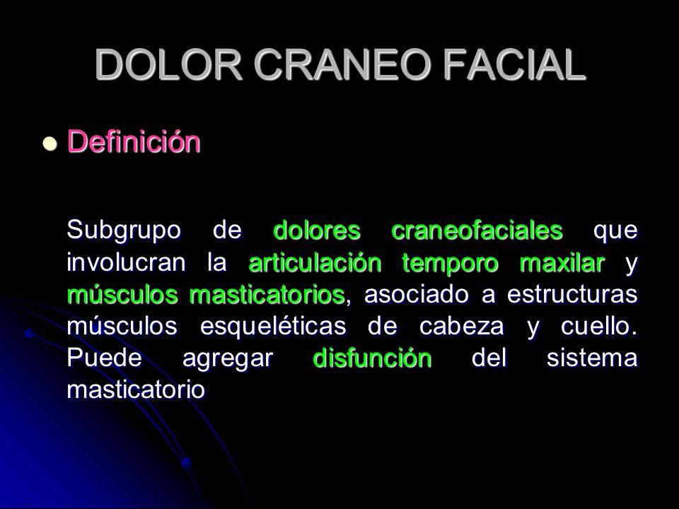 DOLOR CRANEO FACIAL Definición Definición Subgrupo de dolores craneofaciales que involucran la articulación temporo maxilar y músculos masticatorios,