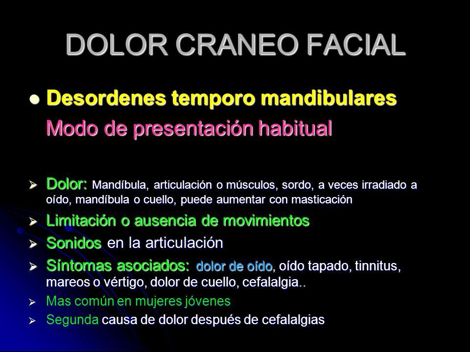 DOLOR CRANEO FACIAL Desordenes temporo mandibulares Desordenes temporo mandibulares Modo de presentación habitual Modo de presentación habitual Dolor: