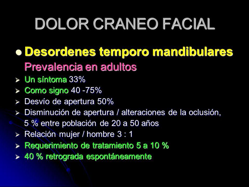 DOLOR CRANEO FACIAL Desordenes temporo mandibulares Desordenes temporo mandibulares Prevalencia en adultos Prevalencia en adultos Un síntoma 33% Un sí