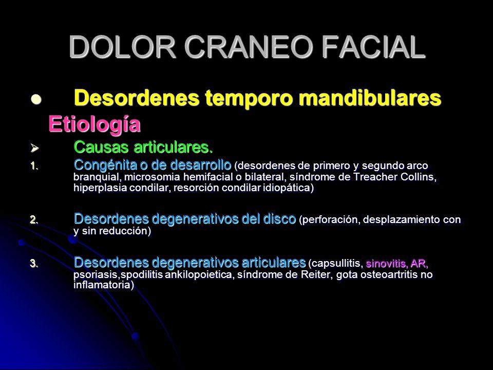 DOLOR CRANEO FACIAL Desordenes temporo mandibulares Desordenes temporo mandibulares Etiología Etiología Causas articulares. Causas articulares. 1. Con