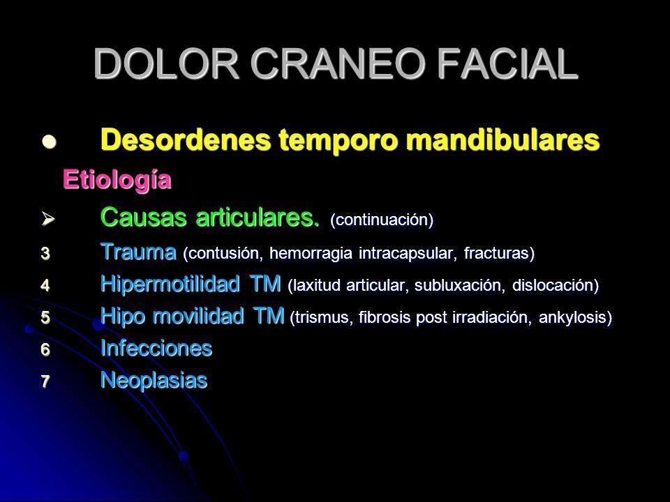 DOLOR CRANEO FACIAL Desordenes temporo mandibulares Desordenes temporo mandibulares Etiología Etiología Causas articulares. (continuación) Causas arti