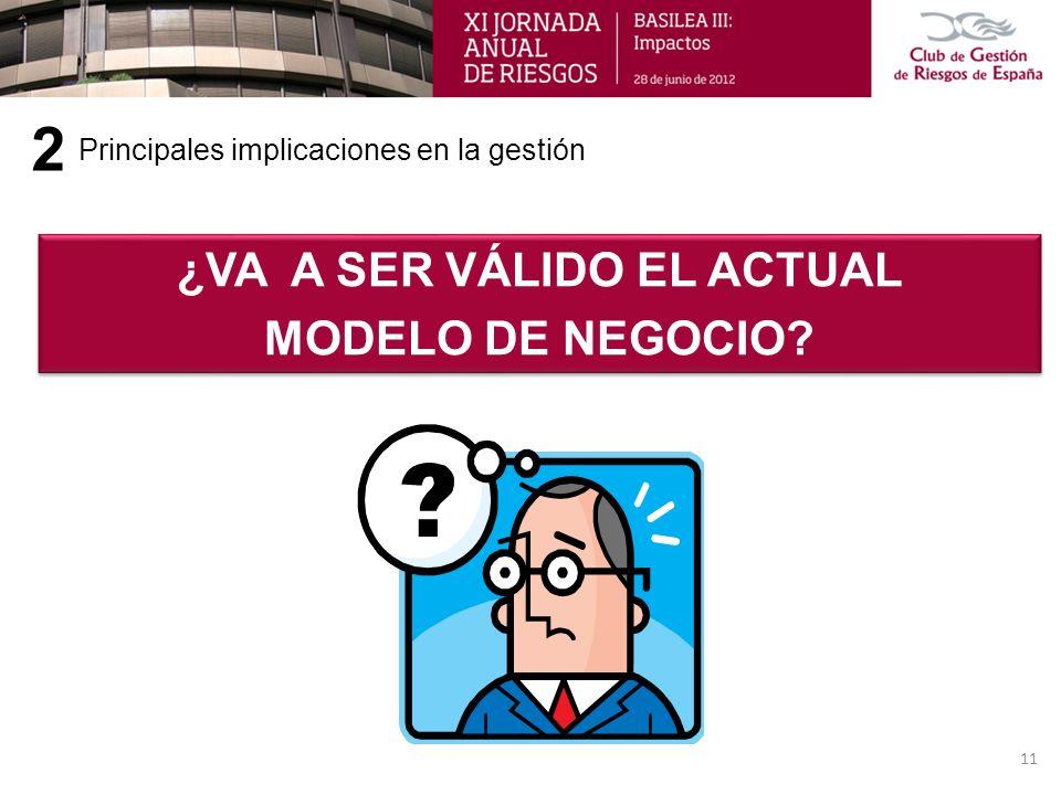 Principales implicaciones en la gestión 2 11 ¿VA A SER VÁLIDO EL ACTUAL MODELO DE NEGOCIO? ¿VA A SER VÁLIDO EL ACTUAL MODELO DE NEGOCIO?
