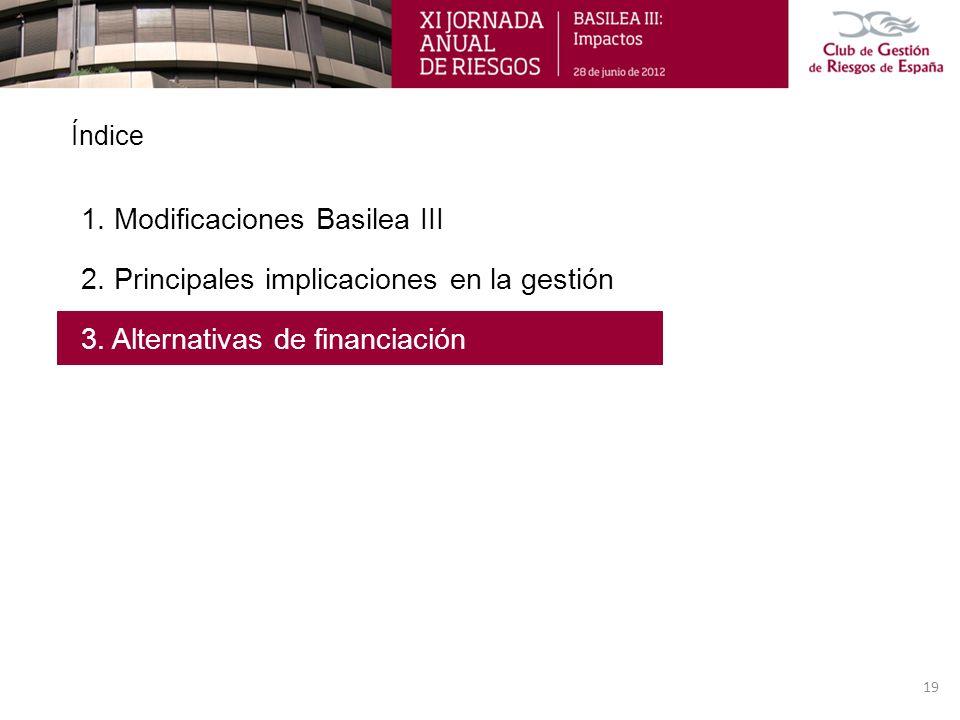 Índice 1. Modificaciones Basilea III 2. Principales implicaciones en la gestión 3. Alternativas de financiación 19
