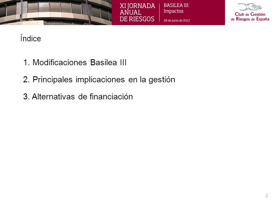 Índice 1. Modificaciones Basilea III 2. Principales implicaciones en la gestión 3. Alternativas de financiación 2