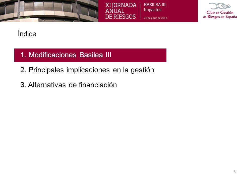 Índice 1. Modificaciones Basilea III 2. Principales implicaciones en la gestión 3. Alternativas de financiación 3