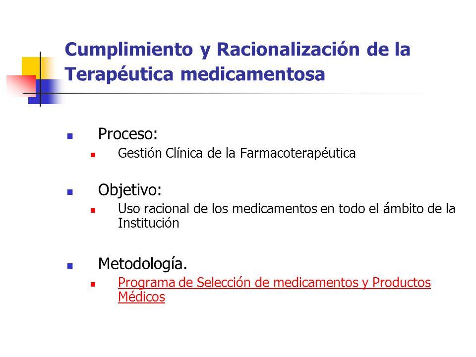 Cumplimiento y Racionalización de la Terapéutica medicamentosa Proceso: Gestión Clínica de la Farmacoterapéutica Objetivo: Uso racional de los medicam