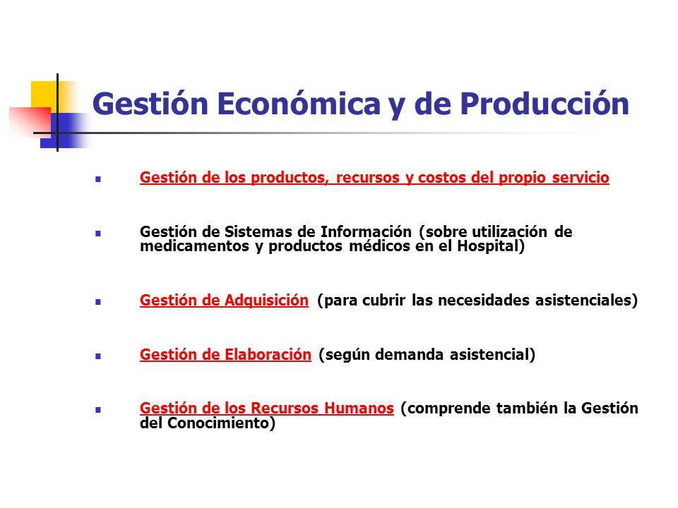 Gestión Económica y de Producción Gestión de los productos, recursos y costos del propio servicio Gestión de Sistemas de Información (sobre utilizació