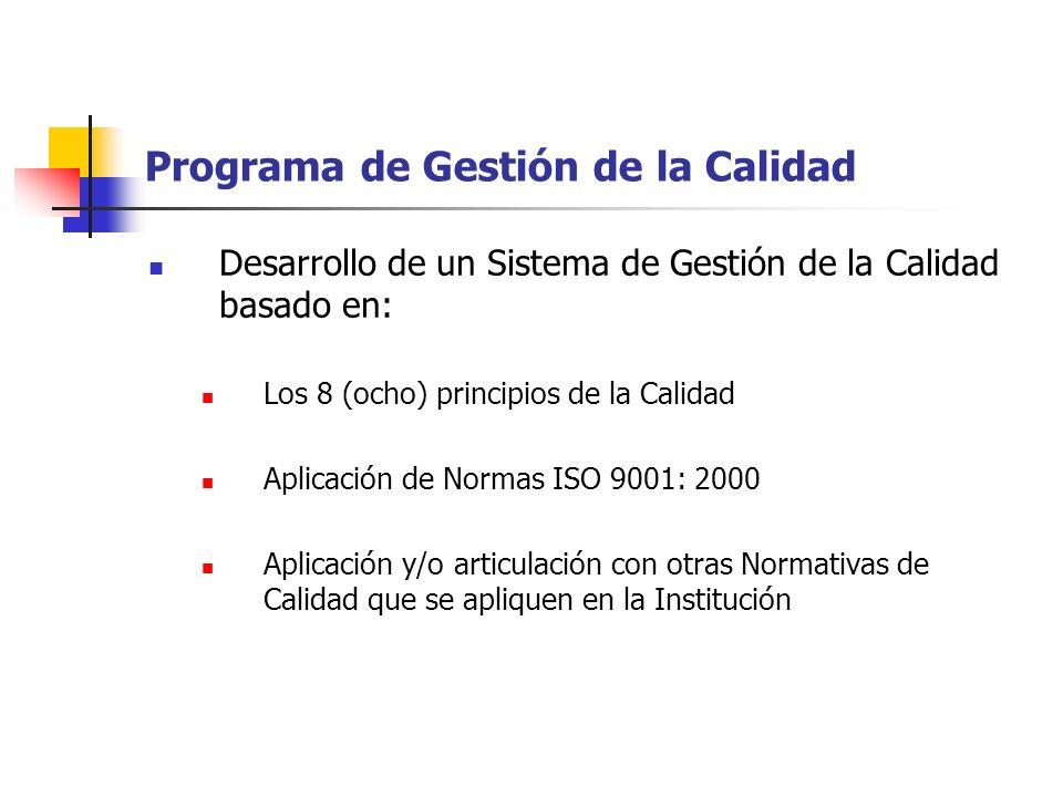 Programa de Gestión de la Calidad Desarrollo de un Sistema de Gestión de la Calidad basado en: Los 8 (ocho) principios de la Calidad Aplicación de Nor