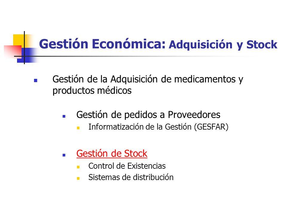 Gestión Económica: Adquisición y Stock Gestión de la Adquisición de medicamentos y productos médicos Gestión de pedidos a Proveedores Informatización