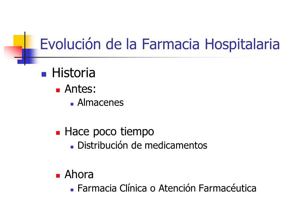 Evolución de la Farmacia Hospitalaria Historia Antes: Almacenes Hace poco tiempo Distribución de medicamentos Ahora Farmacia Clínica o Atención Farmac