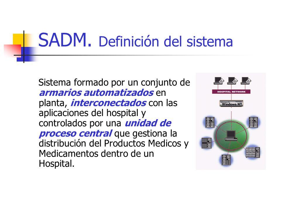 SADM. Definición del sistema Sistema formado por un conjunto de armarios automatizados en planta, interconectados con las aplicaciones del hospital y