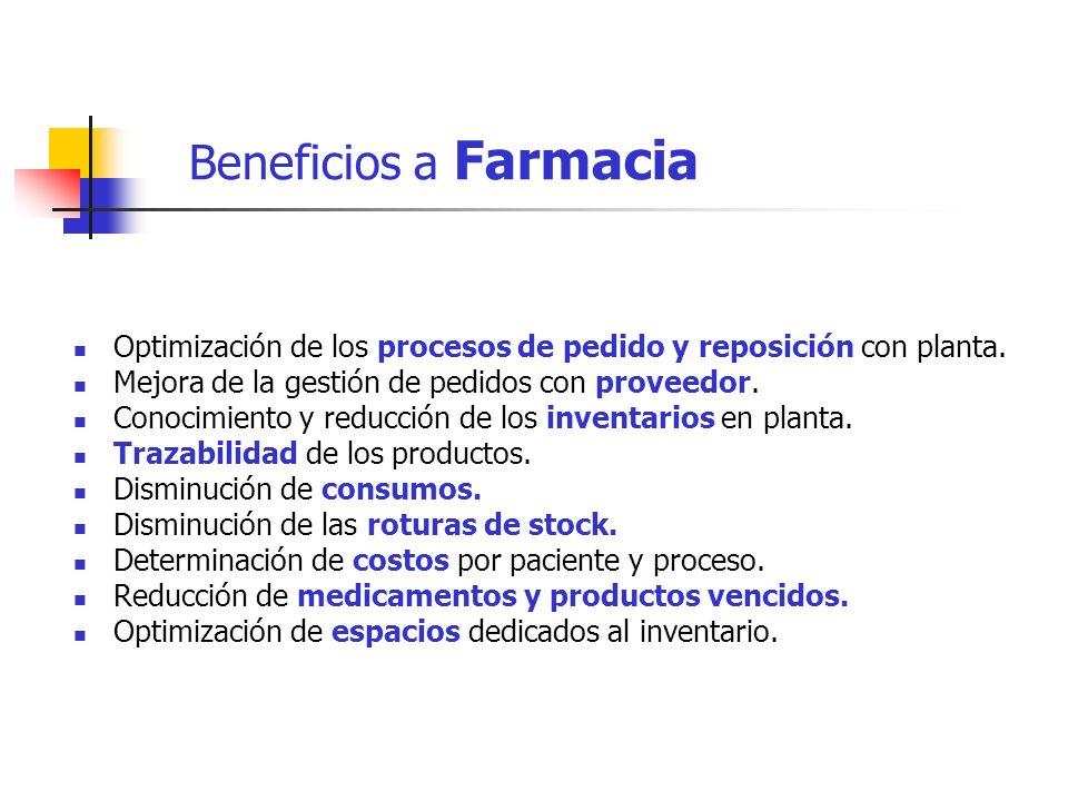 Beneficios a Farmacia Optimización de los procesos de pedido y reposición con planta. Mejora de la gestión de pedidos con proveedor. Conocimiento y re