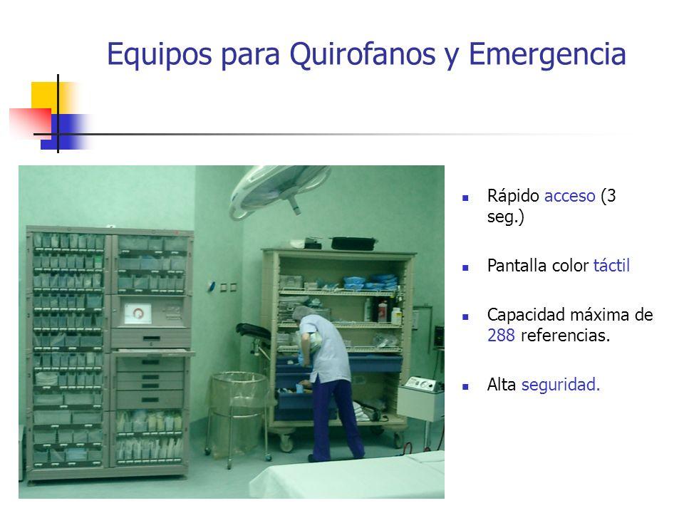 Equipos para Quirofanos y Emergencia Rápido acceso (3 seg.) Pantalla color táctil Capacidad máxima de 288 referencias. Alta seguridad.