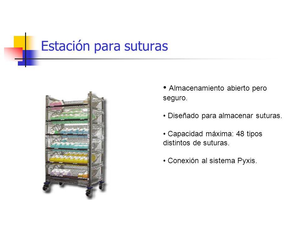 Estación para suturas Almacenamiento abierto pero seguro. Diseñado para almacenar suturas. Capacidad máxima: 48 tipos distintos de suturas. Conexión a