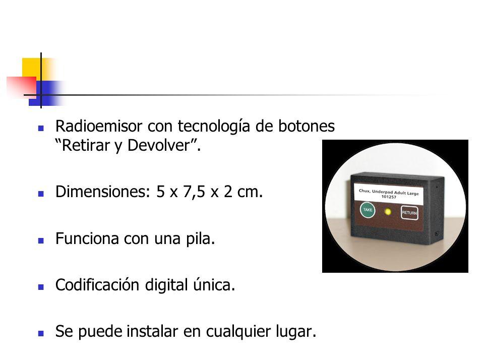 Radioemisor con tecnología de botones Retirar y Devolver. Dimensiones: 5 x 7,5 x 2 cm. Funciona con una pila. Codificación digital única. Se puede ins