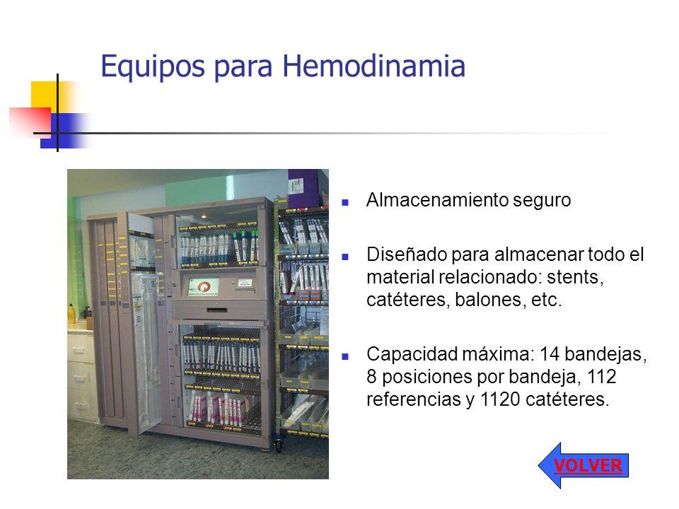 Almacenamiento seguro Diseñado para almacenar todo el material relacionado: stents, catéteres, balones, etc. Capacidad máxima: 14 bandejas, 8 posicion