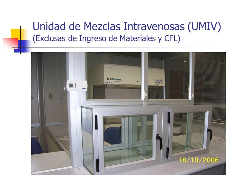 Unidad de Mezclas Intravenosas (UMIV) (Exclusas de Ingreso de Materiales y CFL)