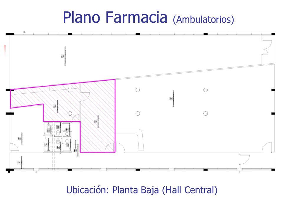 Plano Farmacia (Ambulatorios) Ubicación: Planta Baja (Hall Central)