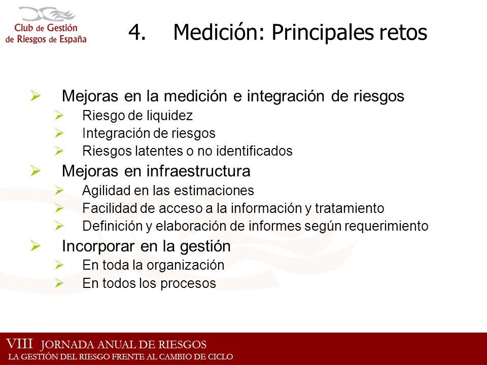 4.Medición: Principales retos Mejoras en la medición e integración de riesgos Riesgo de liquidez Integración de riesgos Riesgos latentes o no identifi
