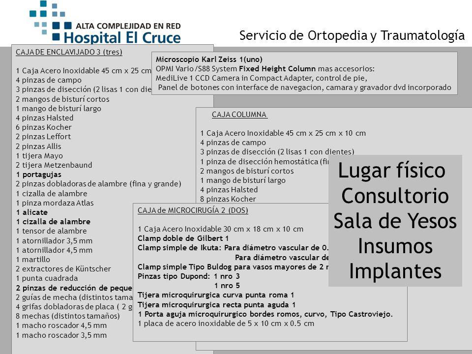 Servicio de Ortopedia y Traumatología CAJA DE ENCLAVIJADO 3 (tres) 1 Caja Acero Inoxidable 45 cm x 25 cm x 10 cm 4 pinzas de campo 3 pinzas de disecci