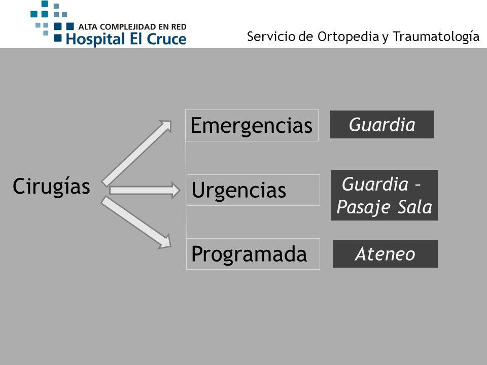Servicio de Ortopedia y Traumatología Cirugías Emergencias Urgencias Programada Guardia Guardia – Pasaje Sala Ateneo