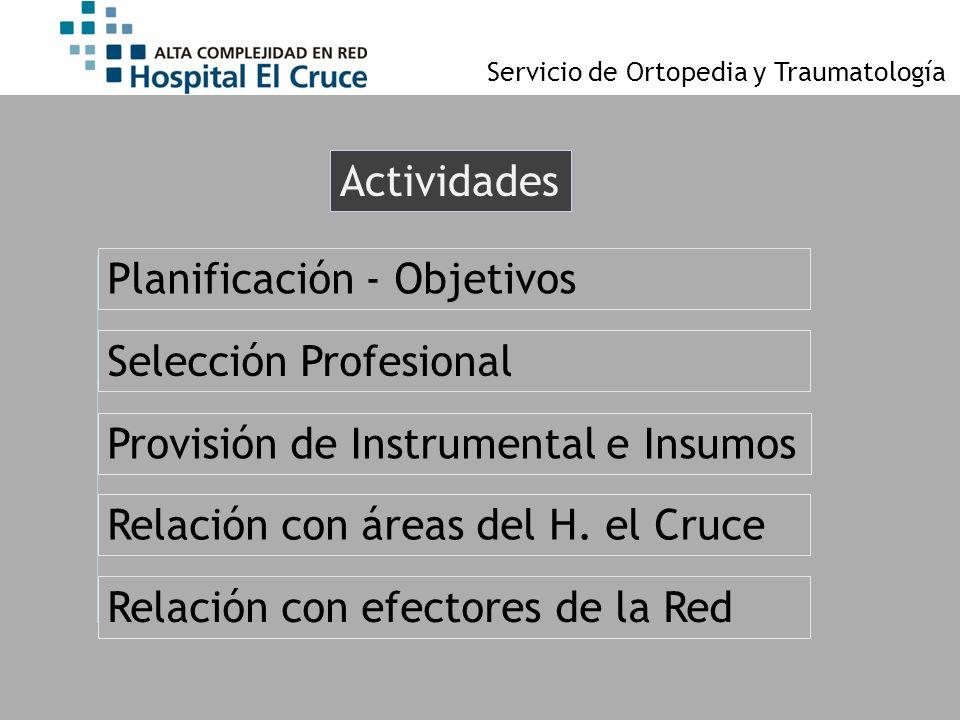Actividades Selección Profesional Provisión de Instrumental e Insumos Relación con áreas del H. el Cruce Planificación - Objetivos Relación con efecto