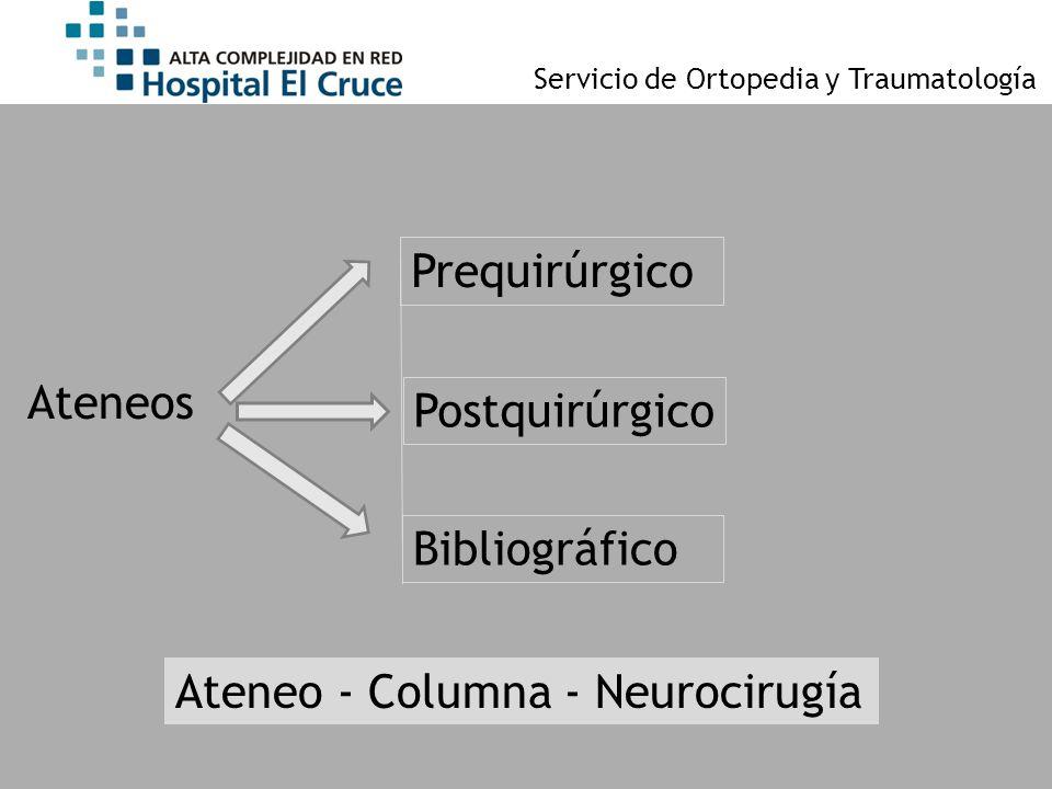 Servicio de Ortopedia y Traumatología Ateneos Prequirúrgico Postquirúrgico Bibliográfico Ateneo - Columna - Neurocirugía