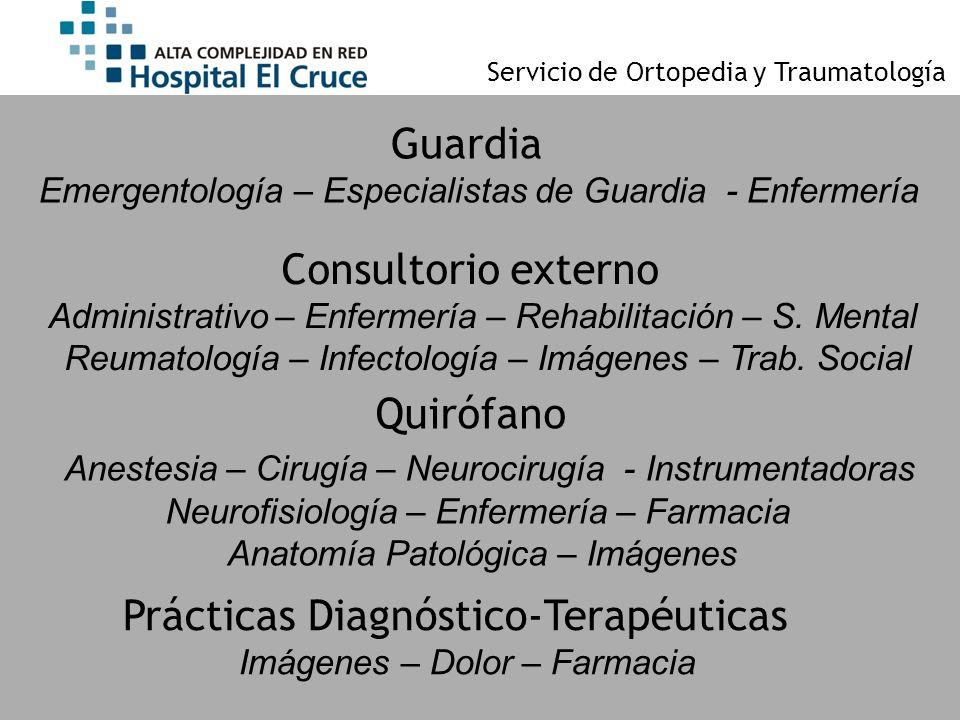 Servicio de Ortopedia y Traumatología Guardia Emergentología – Especialistas de Guardia - Enfermería Consultorio externo Administrativo – Enfermería –
