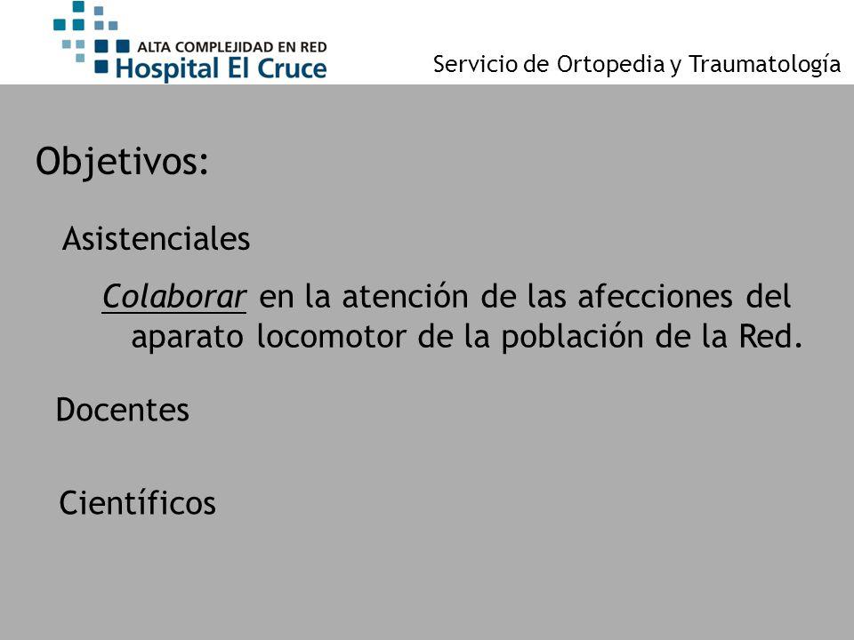 Servicio de Ortopedia y Traumatología Objetivos: Colaborar en la atención de las afecciones del aparato locomotor de la población de la Red. Docentes