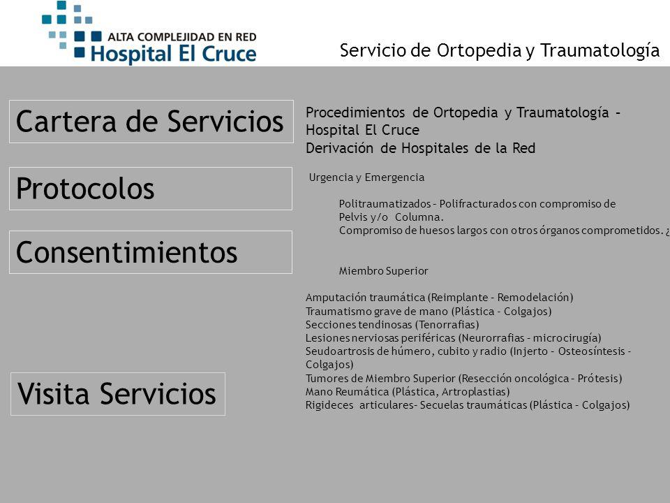 Procedimientos de Ortopedia y Traumatología – Hospital El Cruce Derivación de Hospitales de la Red Urgencia y Emergencia Politraumatizados – Polifract