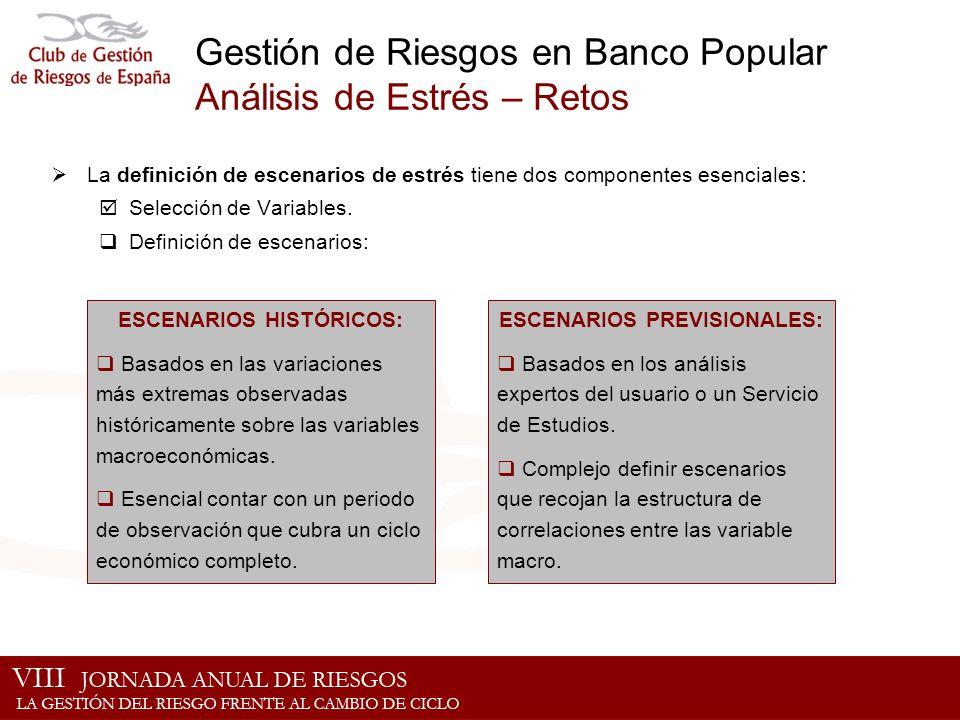 Gestión de Riesgos en Banco Popular Análisis de Estrés – Retos La definición de escenarios de estrés tiene dos componentes esenciales: Selección de Va