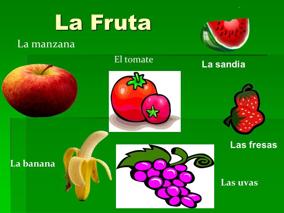 La Fruta La manzana La banana Las uvas El tomate La sandia Las fresas