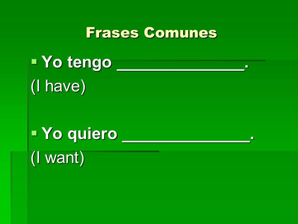Frases Comunes Yo tengo ______________. Yo tengo ______________. (I have) Yo quiero ______________. Yo quiero ______________. (I want)