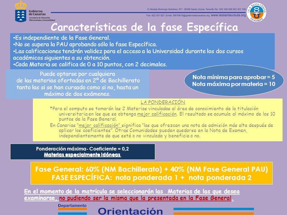 Características de la fase Específica Es independiente de la Fase General. No se supera la PAU aprobando sólo la fase Específica. Las calificaciones t