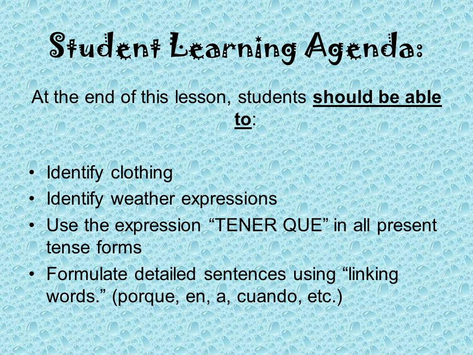 Student Learning Agenda: At the end of this lesson, students should be able to: Identify clothing Identify weather expressions Use the expression TENE