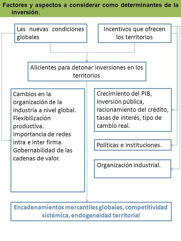 Factores y aspectos a considerar como determinantes de la inversión. Las nuevas condiciones globales Incentivos que ofrecen los territorios Alicientes